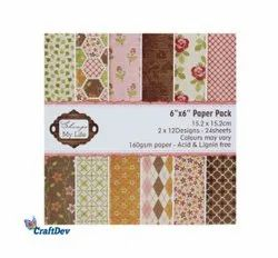 6 X 6 Scrap Booking Paper Pack, GSM: 160 GSM, 24 Sheets