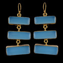 Chalcedony Dangle Gold Plated Earrings