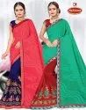 Dyed Georgette Embroidery work Saree with Lace - New Year 18