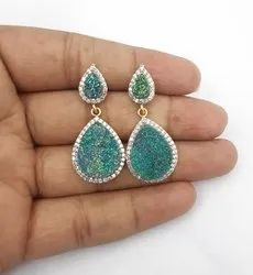 Titanium Green Druzy Earrings