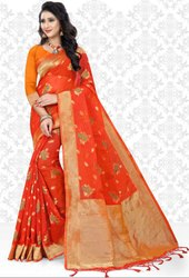 Flame Orange Super Net Saree