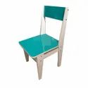 Green And White Wooden Backrest Chair, Finish: Paint Coated