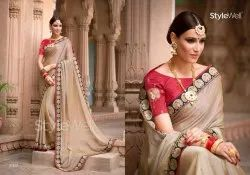 Chiffon Saree With Embroidered And Stonework Blouse