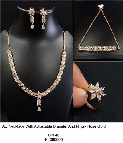 Cz And Ad Rose Gold Jewellery Set क य ब क ज रक न य न कल स क य ब क ज रक न य क ह र Panaah Jewellery Studio Ahmedabad Id 22198182997