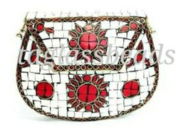 Vintage Style Red White Handmade Mosaic  Stone purs Cling  Clutch Bag