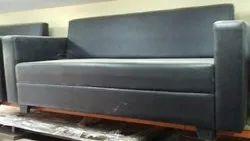 Black 3 Seater Office Sofa