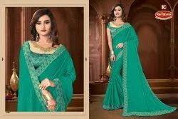 Dyed Vichitra Heavy Embroidery Work Saree with Lace  - Captain