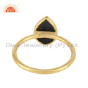 Yellow Gold Plated Silver Pear Cut Black Onyx Gemstone Stacking Ring Jewelry