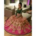 Bridal Green And Pink Embroidered Lehenga Choli