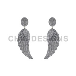 Pave Diamond Silver Earrings