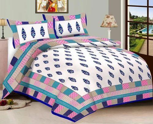 e3141388ff Multicolored 100% Cotton Jaipuri King Size Digital Print Double Bed Sheet