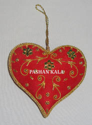 Hand Embroidered X-Mas Heart Shape  Decorative Christmas  Ornament