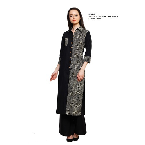 Women Cotton 3/4th Sleeve Designer Multi Color Kurti
