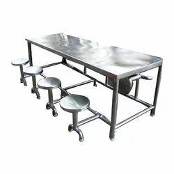 Ryan Silver Rectangular Stainless Steel Dinning Table, Size: 96