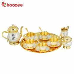 Choozee - Brass Tea Set (22 Pcs) - 2 Tone - Silver/Gold Plated