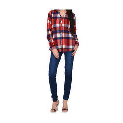 Ladies Cotton Full Sleeve Check Shirt