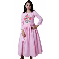 Cotton Casual Wear Long Anarkali Kurti, Handwash, Size: S-XXL