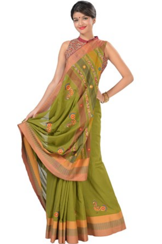 841d6a910dbd54 Double Shaded Green Embroidered Cotton Saree, Embroidery Work Saree ...