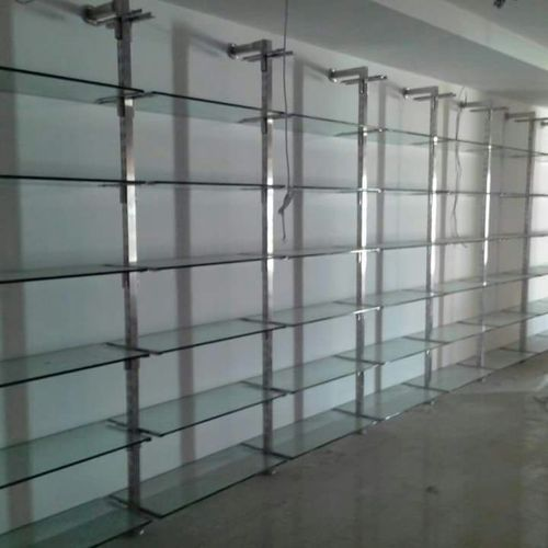 Shop Display Rack Stainless Steel Glass Rack