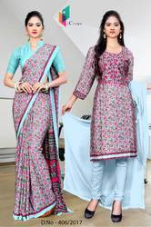 Sky Blue and Pink Italian Crepe Uniform Saree Kurti Combo