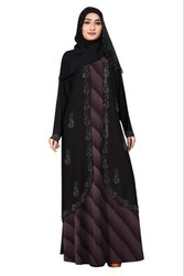 Women's Lycra and Chiffon Printed Abaya With Dupatta
