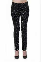 Women\'s Black Printed Cotton Pant