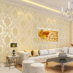 Golden Base Vinyl Living Room 3D Wallpaper