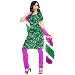Green Bandhej Suit