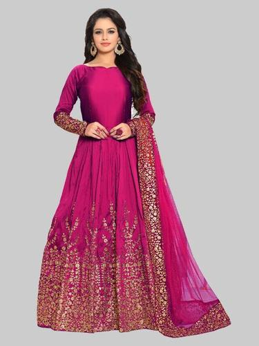 ab8749d32b3 Rani Silk Embroidered Semi Stitched Anarkali Suit