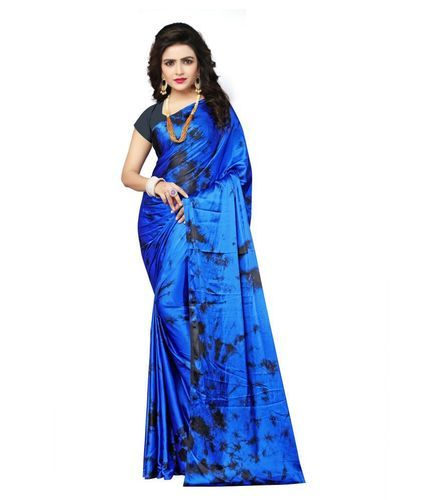 181e461dd0075 Satin Silk Blue   Black Printed Saree