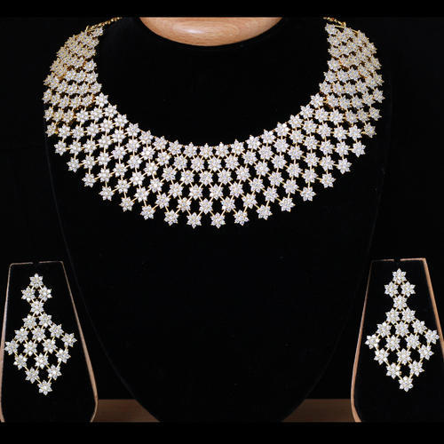8cbf3de7c Vivah Creation White Spunky American Diamond Necklace Set