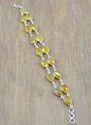 Citrine Gemstone 925 Sterling Silver Bezel Bracelets