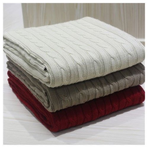 100 Cotton Cable Knit Bed Throw