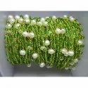 Peridot Quartz Gemstone Wire Wrapped Chain With Pearl Bead