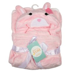 Baby Blanket With Hood Pink Cat