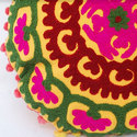 Yellow Floral Embroidered Cushion Cover