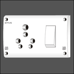 B'Five White 6 & 16 Amp. S.S. Combined Switch Socket, For Home, 220-240 V