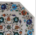 White Marble Pietra Dura Dining Table Top