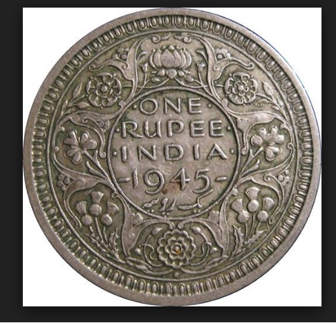 1945 One Rupee Indian Old Coin