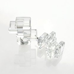 Set of 2 Multi Square Lead Crystal Finial