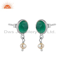 Pearl Green Onyx Gemstone Fine Sterling Silver Drop Earrings