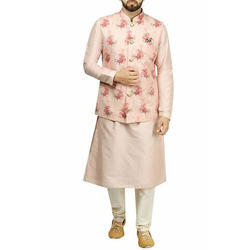 Peach Colour Floral Kurta Jacket