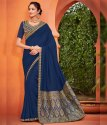 Shree Export Festive Wear Steel Blue Color Art Silk Classy Saree