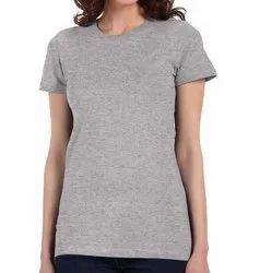 MJW Plain Grey Ladies Cotton T Shirts, Size: S-XXL