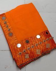 Georgette Mirror And Hand Work Bordered Pattern Orange Saree