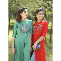 Medium Large XL Cotton Ladies Embroidered Kurti
