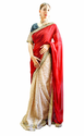 Golden Maroon Bridal Wear And Casual Wear Saree, With Blouse Piece