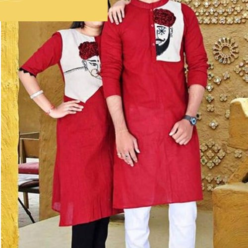 Casual Wear Printed Ladies Couple South Cotton Kurti, Wash Care: Machine Wash
