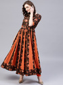 Black & Orange Round Neck Anarkali Dress, Length: Ankle Length