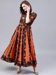 Black & Orange Round Neck Anarkali Dress, Length: Ankle Length